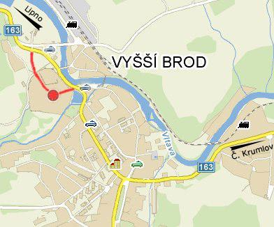 Mapka Vyšší Brod - ke klášteru